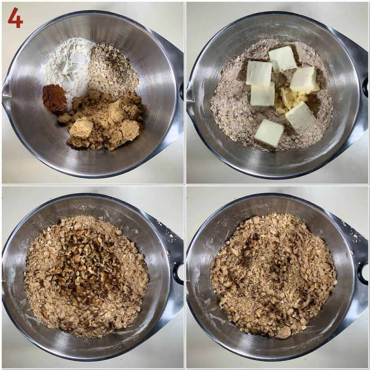 Collage of mixing up a streusel topping.