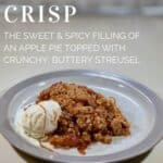 Apple Crisp on a grey-rimmed white plate with vanilla ice cream & caramel sauce on the side Pinterest banner.