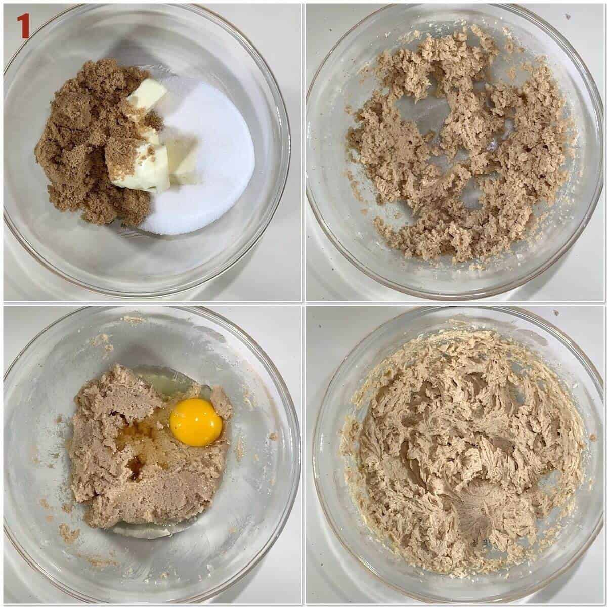 Collage of creaming butter with sugar & adding egg to cookie dough.