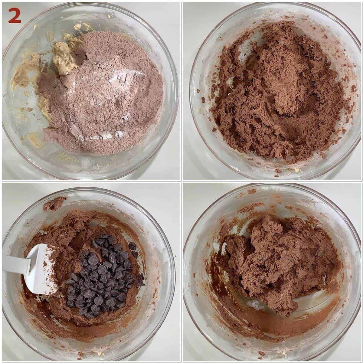 Collage of adding flour mixture and chocolate chips to cookie dough.