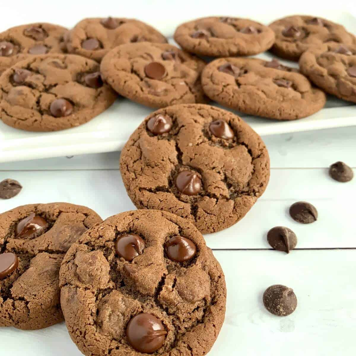 Chocolate Chocolate Chip cookies with white tray of cookies behind.