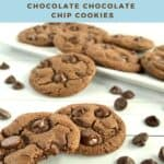 Bitten Chocolate Chocolate Chip cookies with white tray of cookies behind Pinterest banner.