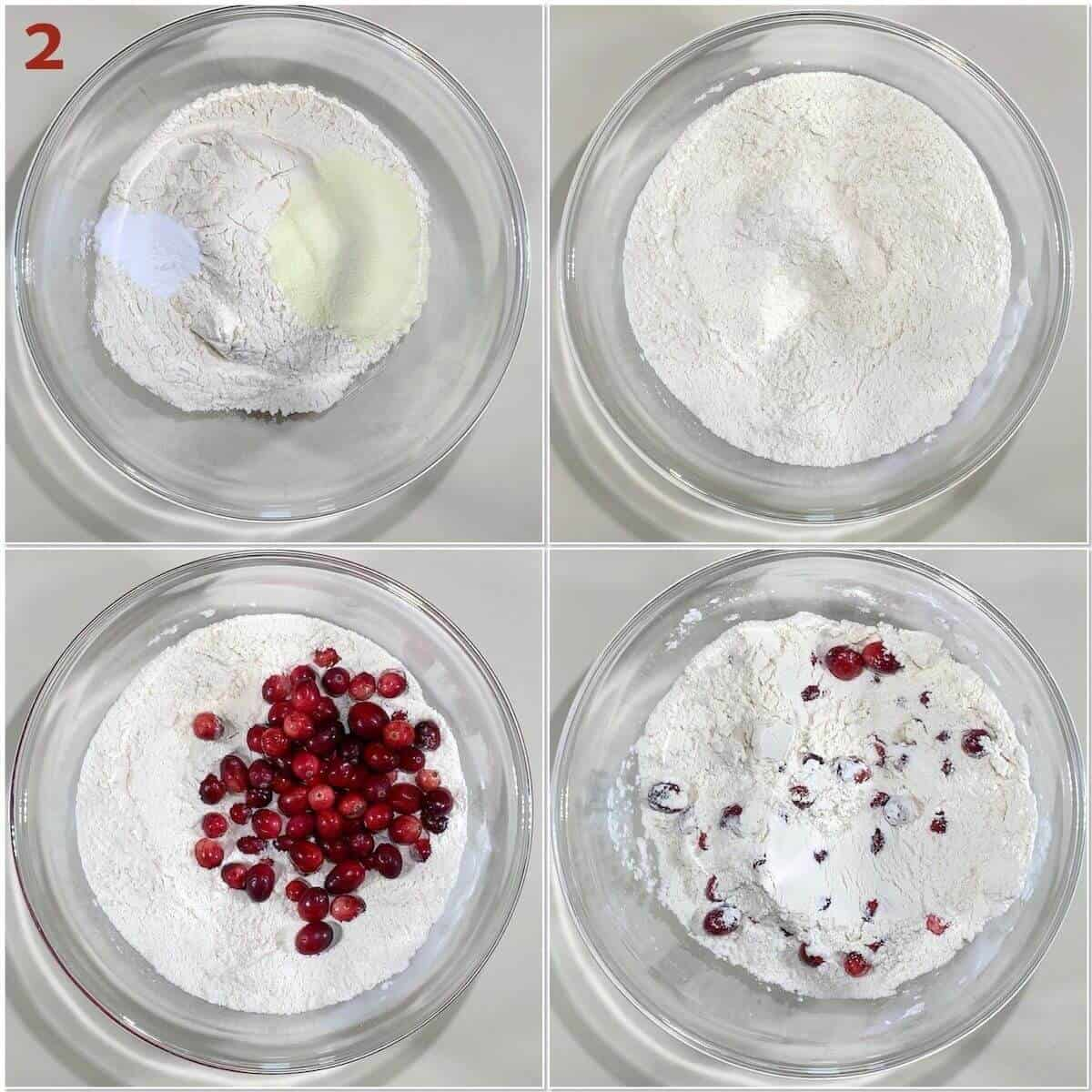 Collage of mixing cranberry bread dry batter ingredients.