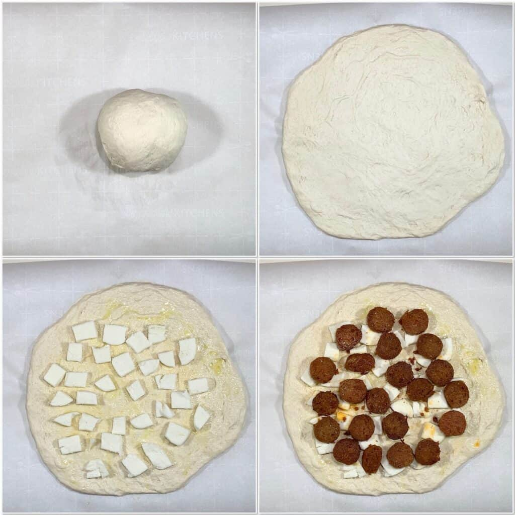 Sourdough Pizza preparing & topping dough collage