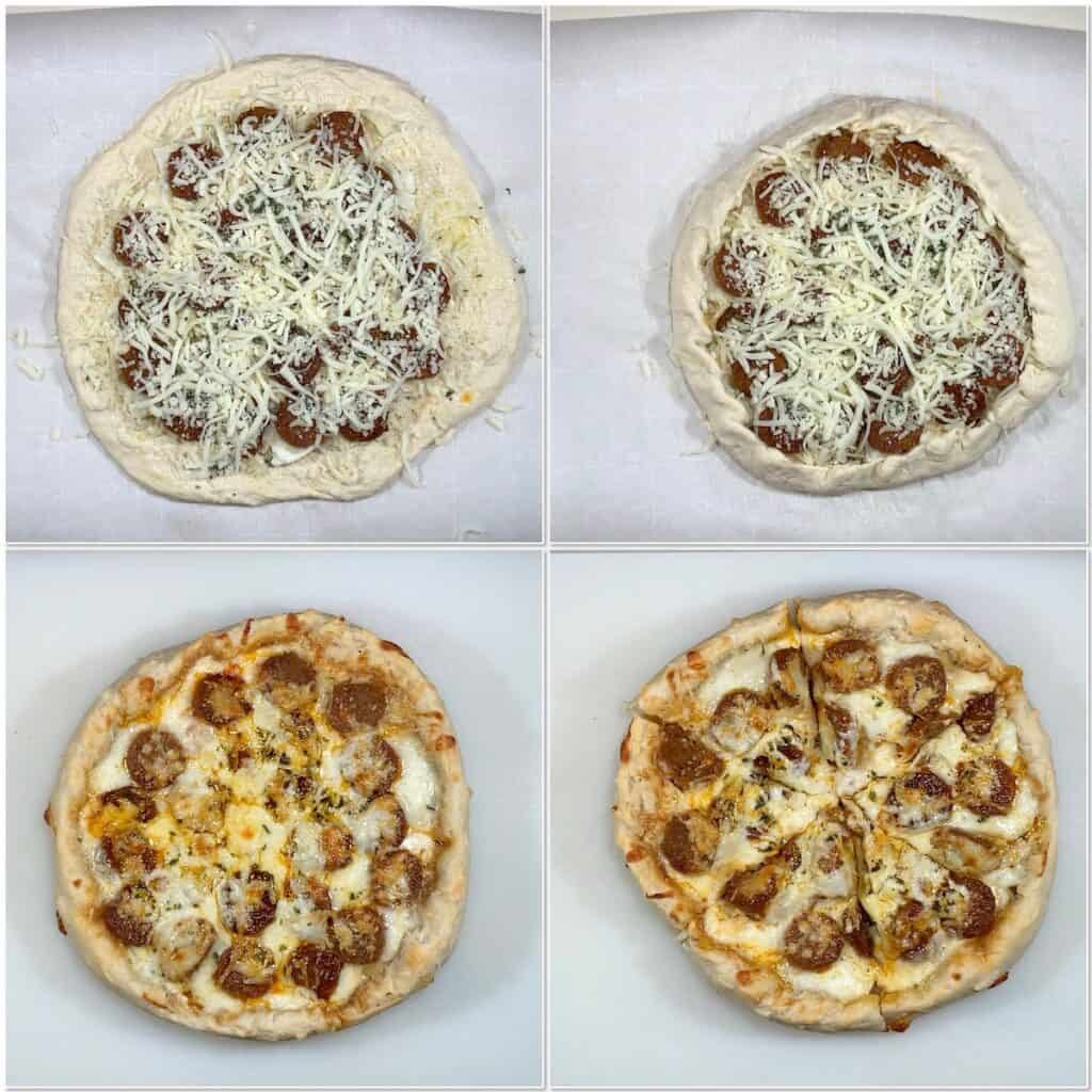 Sourdough Pizza before & after baking collage