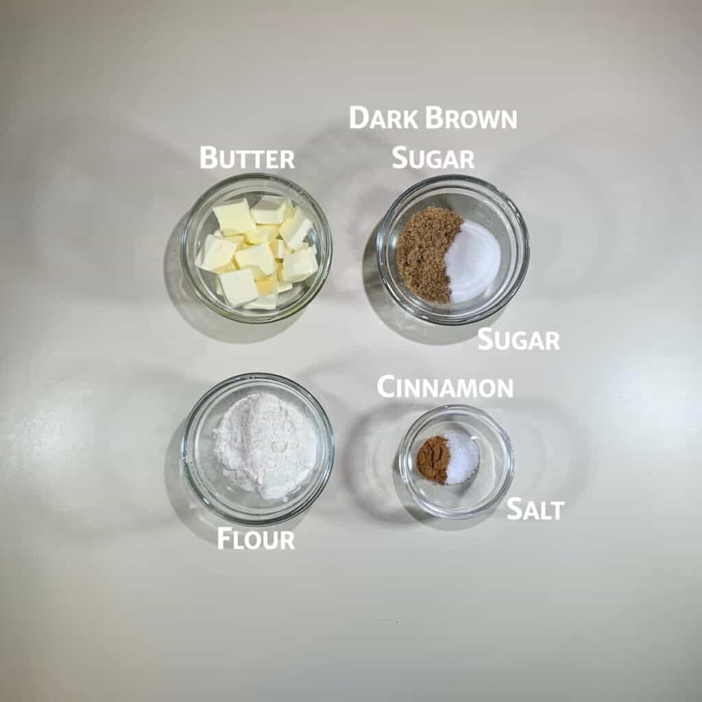 Sourdough Spice Cake topping ingredients overhead