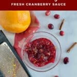 Cranberry Sauce with tools & berries from overhead Pinterest banner