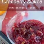 Cranberry Sauce with tools & berries closeup Pinterest banner