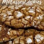 Molasses cookies closeup showing texture Pinterest banner
