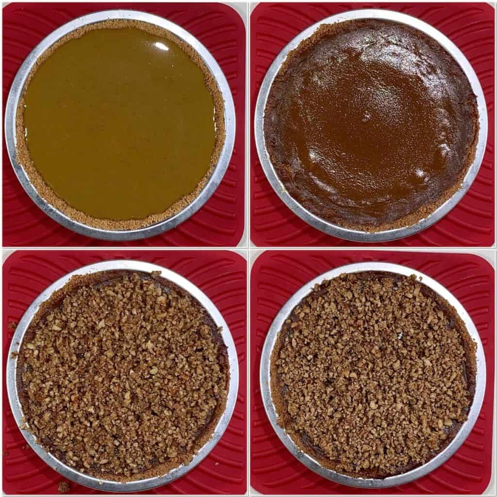 Praline Pumpkin Pie before & after baking collage