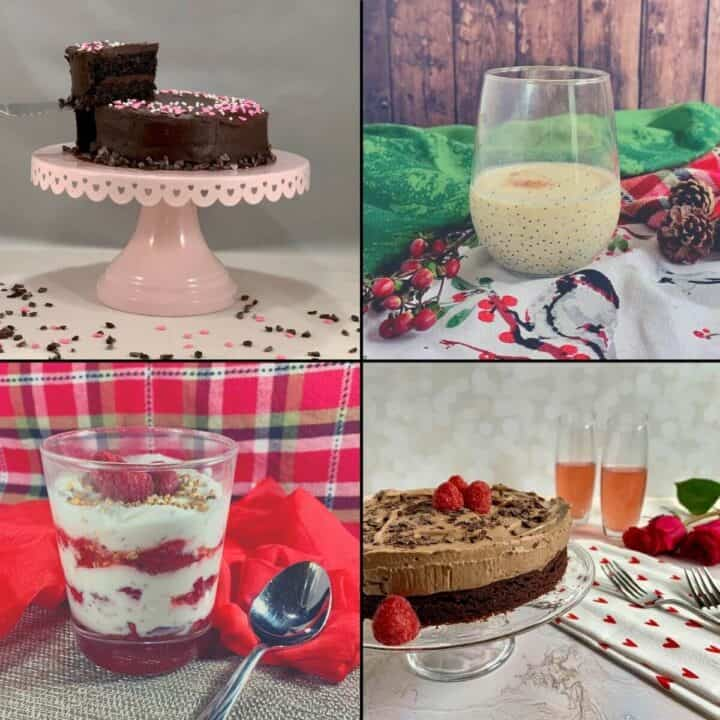 Port Wine cake, eggnog, glass of Four Roses Bourbon, Chocolate Mousse Cake collage