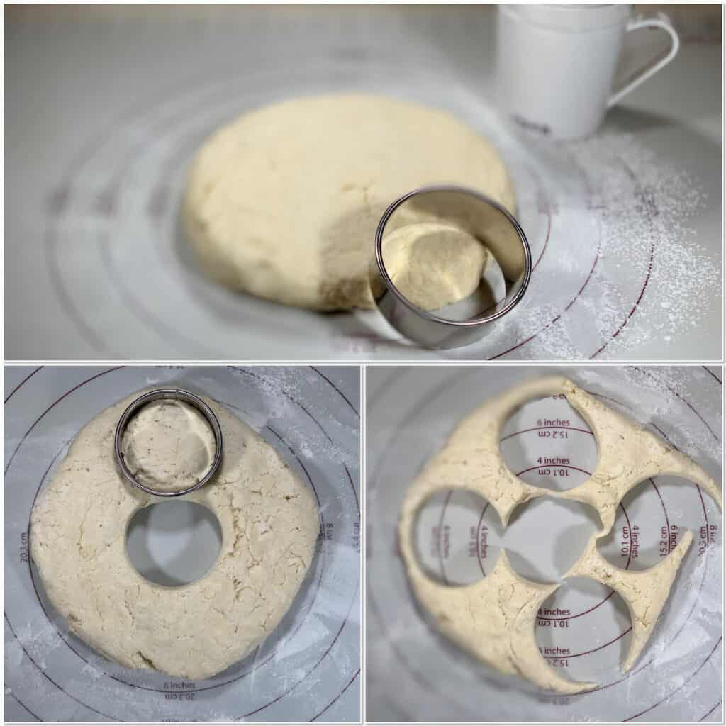 cutting out sourdough biscuits from dough collage