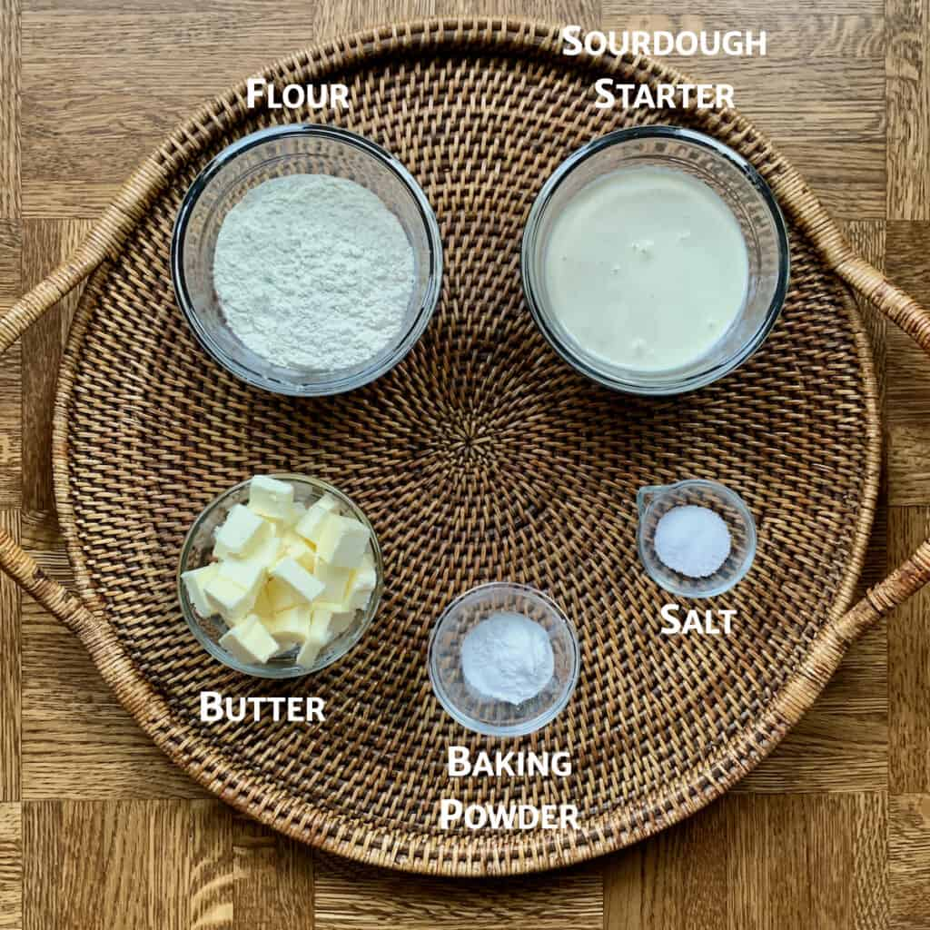 ingredients for sourdough biscuits marked