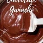 chocolate ganache in a bowl Pinterest banner