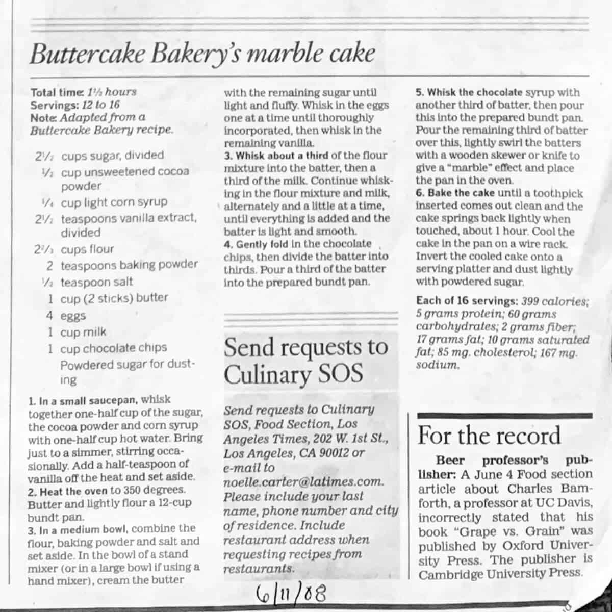 Marble Bundt Cake newspaper recipe