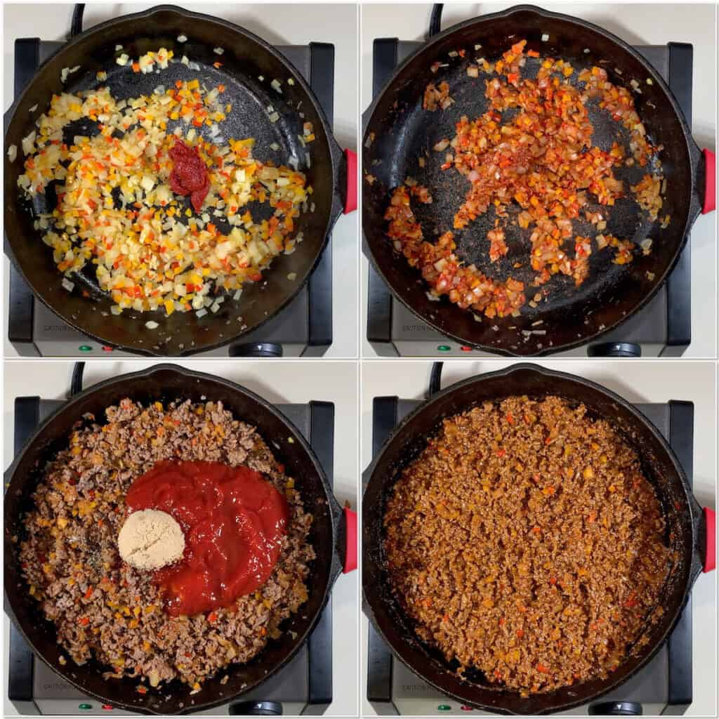 Sloppy Joes Pasties making filling collage