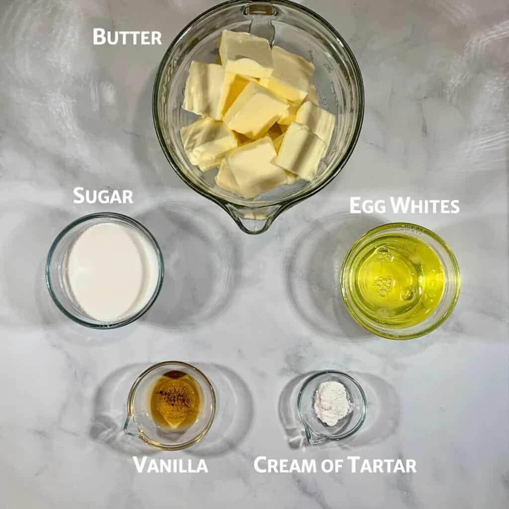 Italian Meringue Buttercream ingredients from overhead marked