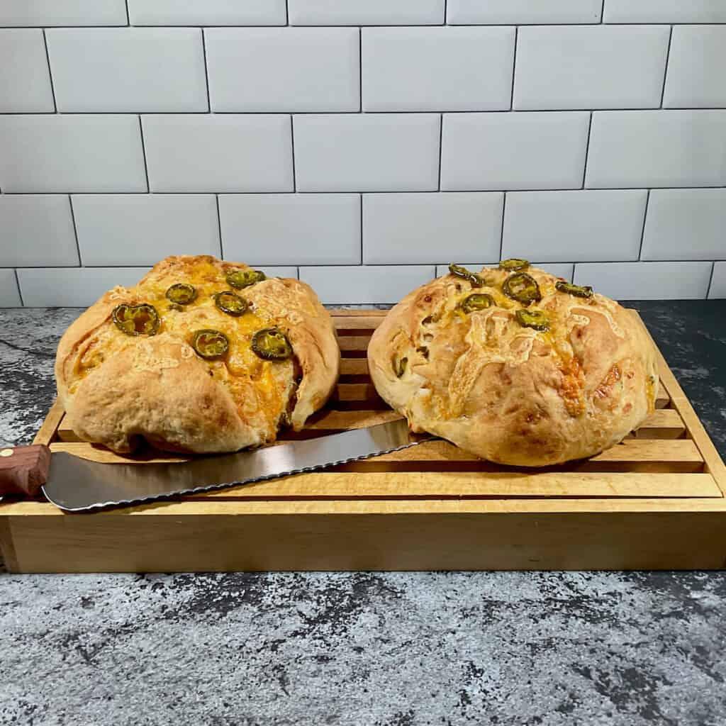 Sourdough Jalapeño Cheddar Bread on cutting board