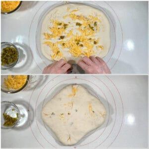 Sourdough Jalapeño Cheddar Bread stuffing dough layers collage