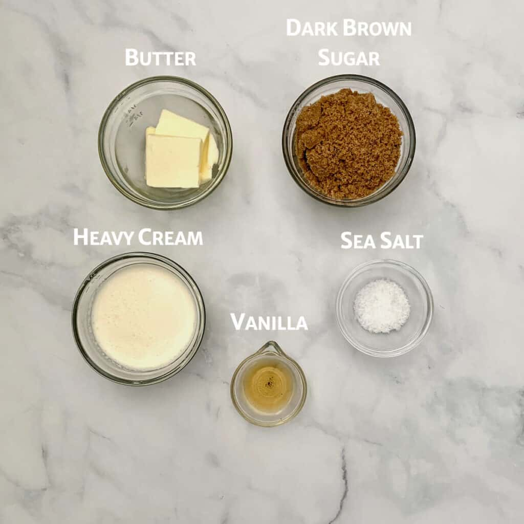 Butterscotch Sauce ingredients from overhead marked