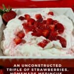 Eton Mess in a bowl on red scarf Pinterest banner.