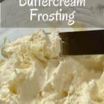 Italian Meringue Buttercream in bowl closeup Pinterest banner