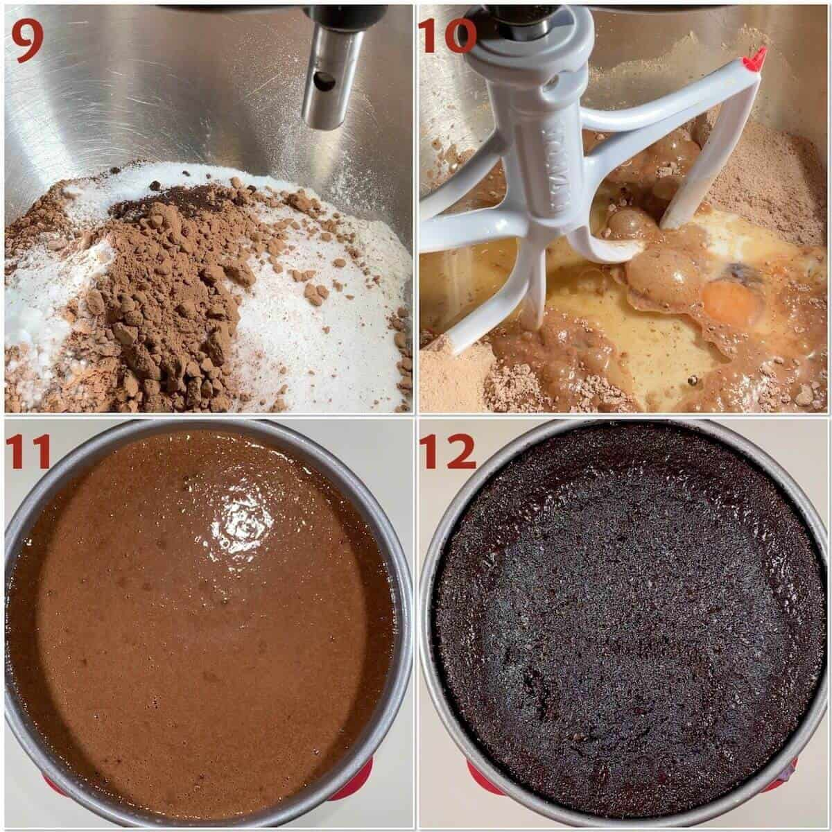 Collage of mixing chocolate cake batter & before & after baking