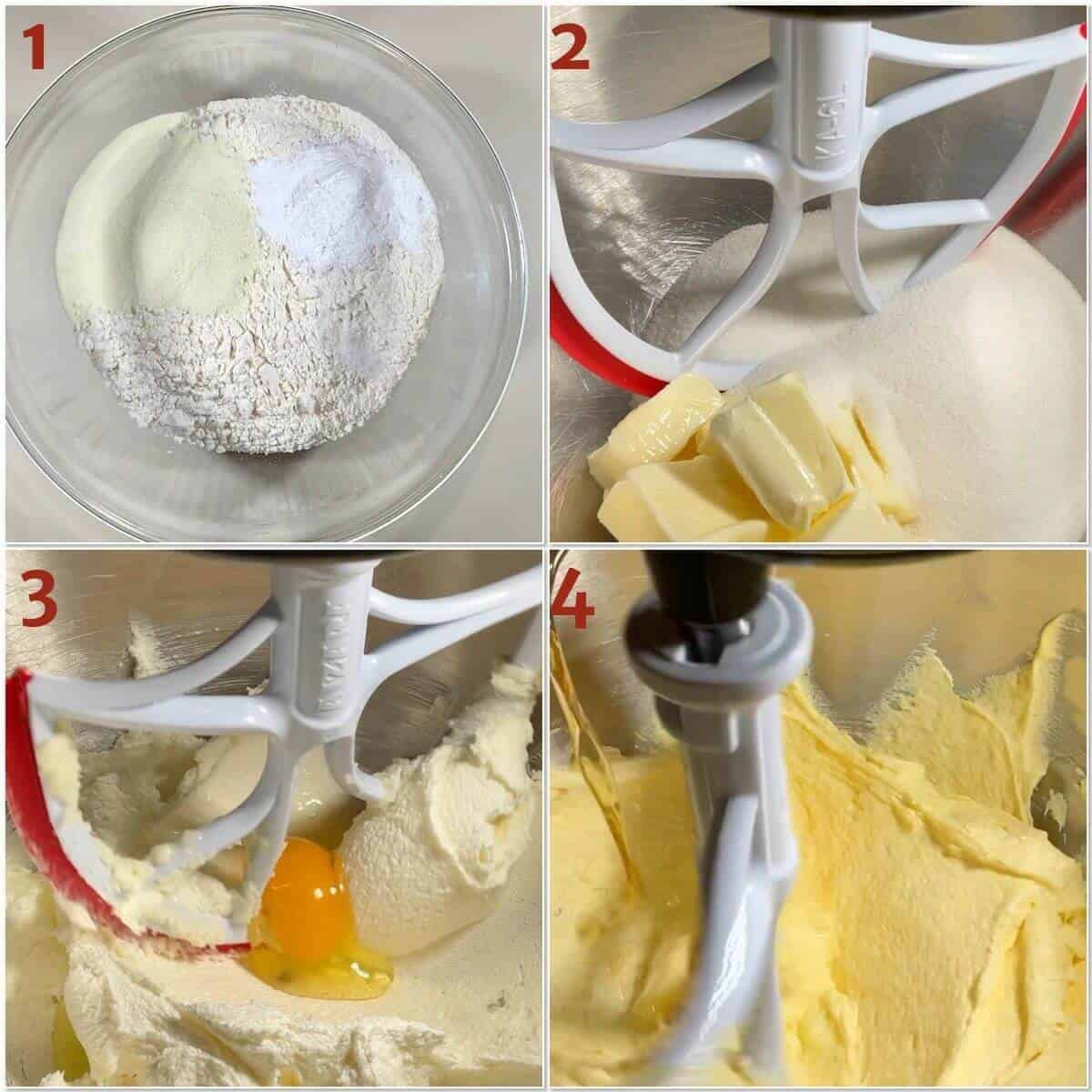 collage of starting to mix vanilla cake batter