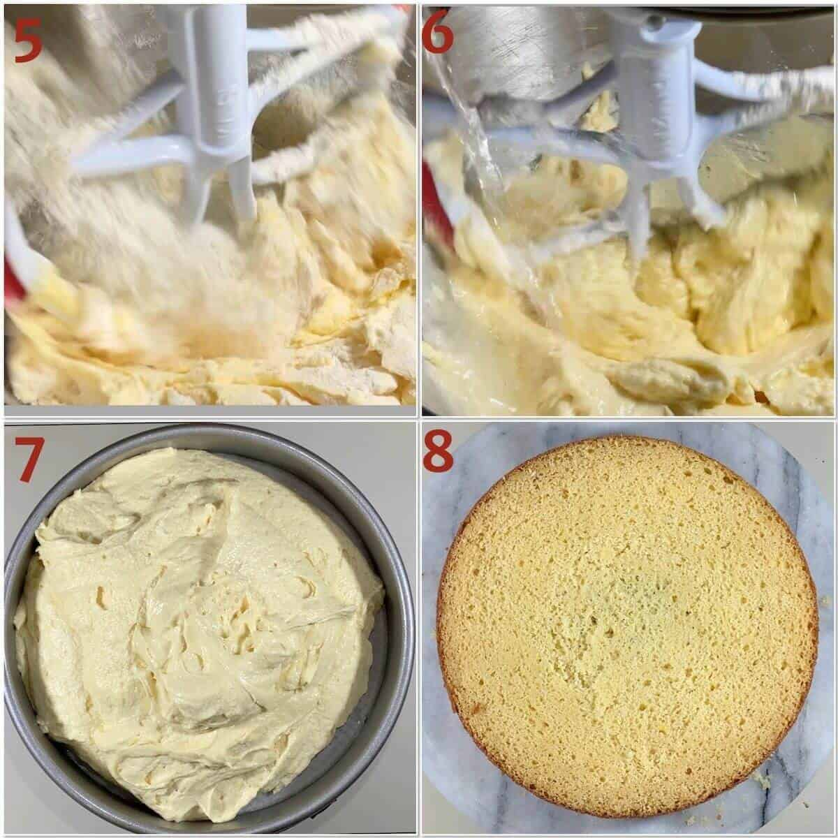 Collage of mixing in flour and water to vanilla cake batter & before & after baking