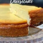 white wine cheesecake on cake plate with slice being lifted out Pinterest banner
