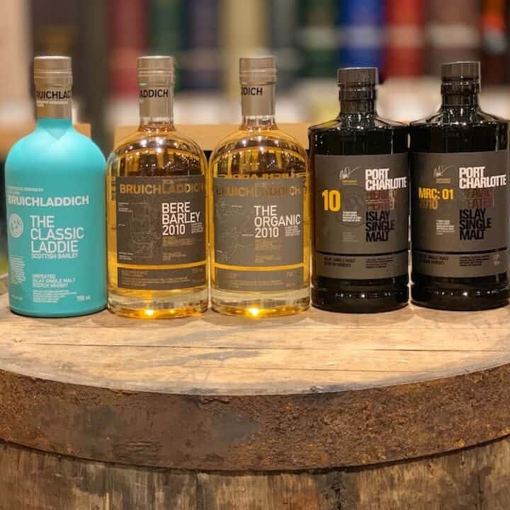 Bruichladdich unpeated and Port Charlotte heavily peated lineup.