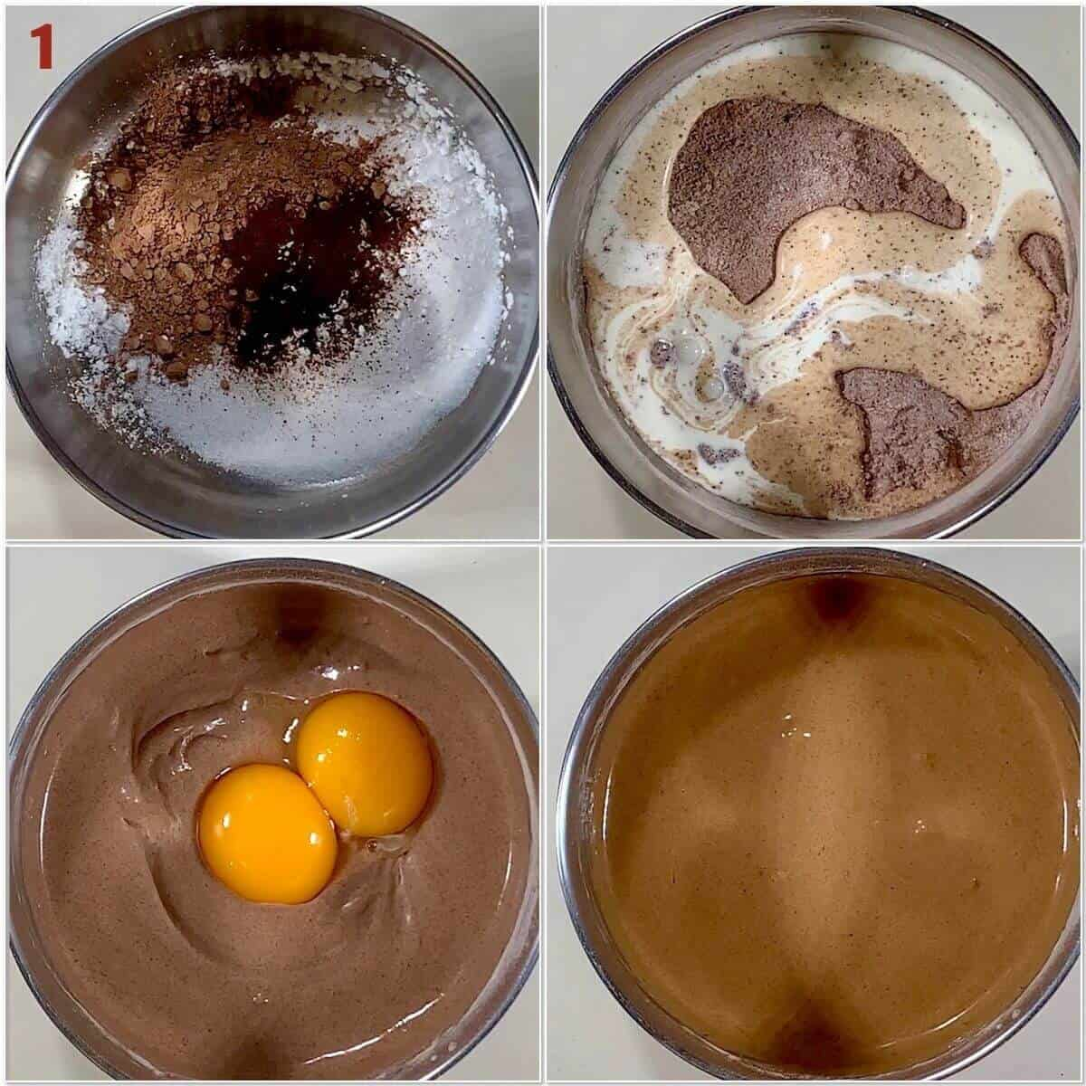 Collage of cooking chocolate custard