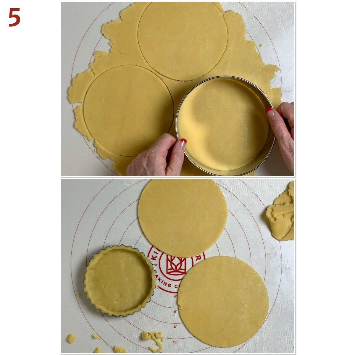 Collage of cutting out shortbread circles for mini tarts.