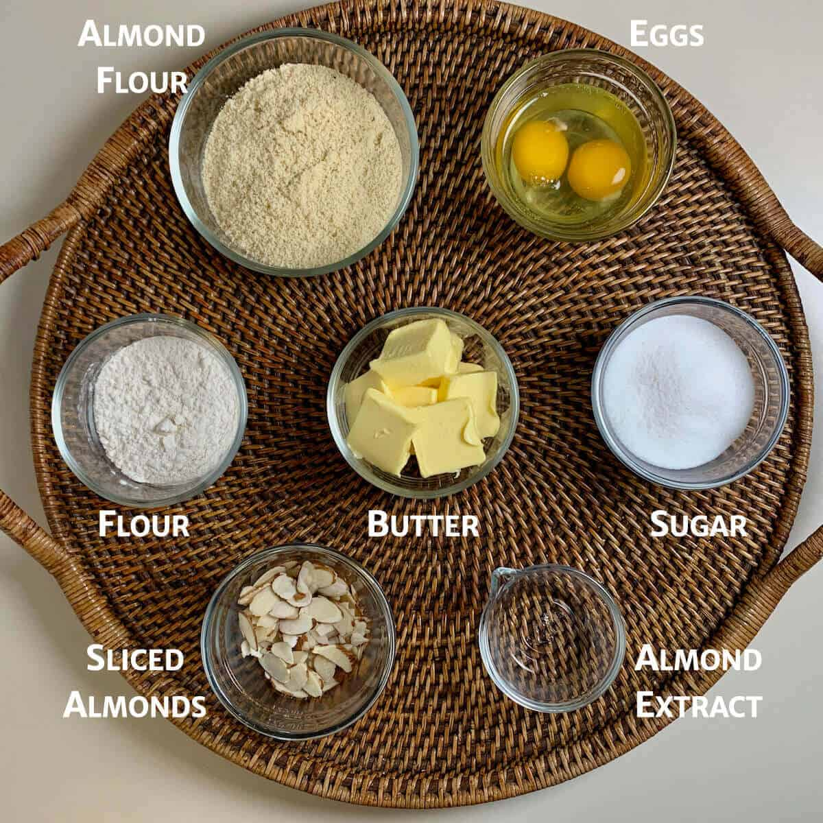 Almond Frangipane ingredients on a wooden tray from overhead.