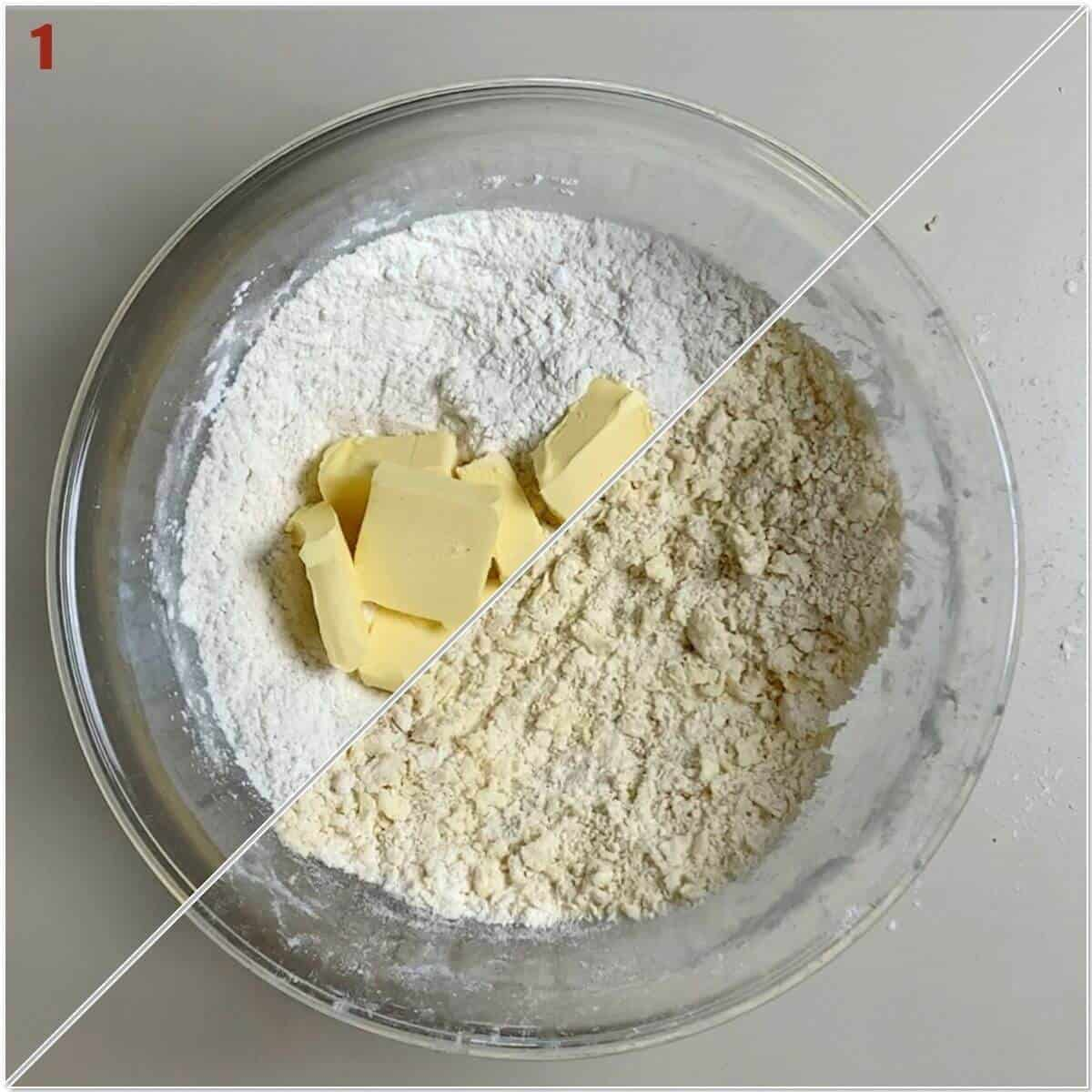 Collage of cutting in butter for shortcrust pastry.