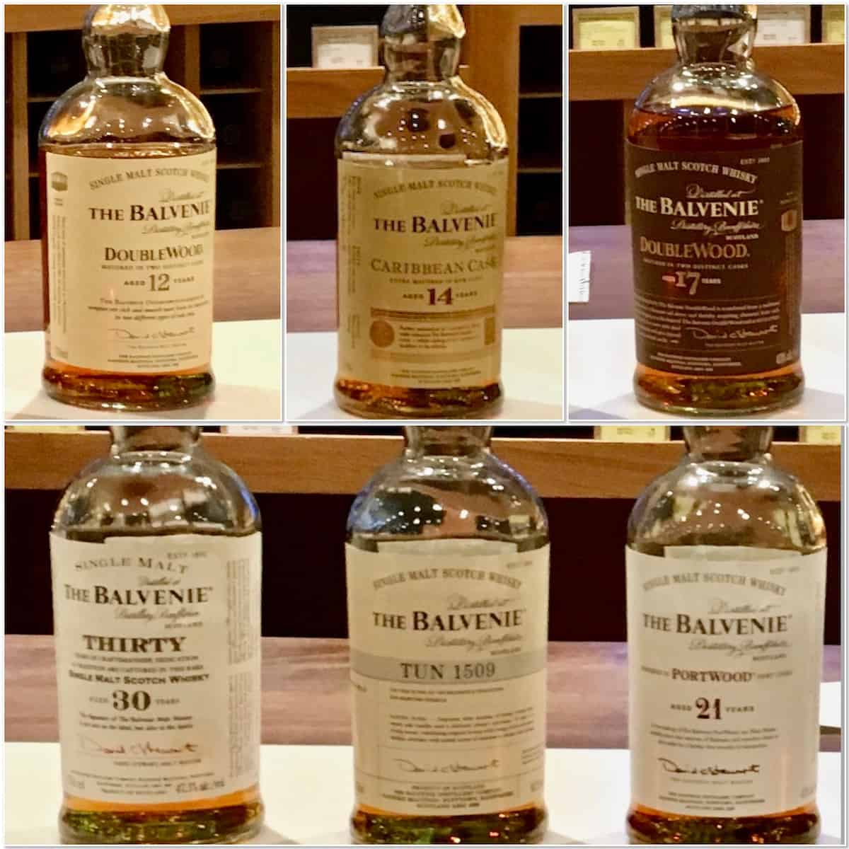 Collage of the Balvenie lineup bottles on a counter.