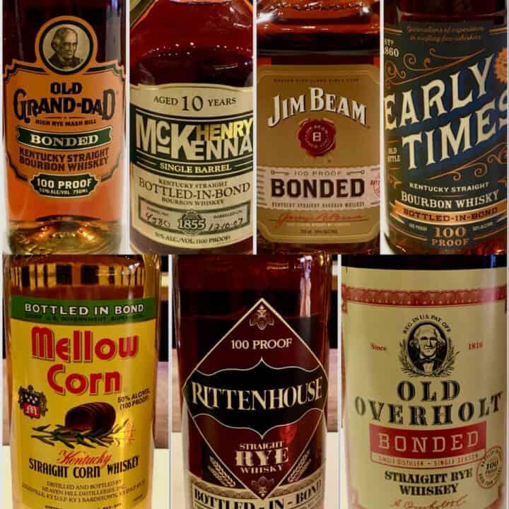 Collage of bottled in bond bourbon bottle labels.