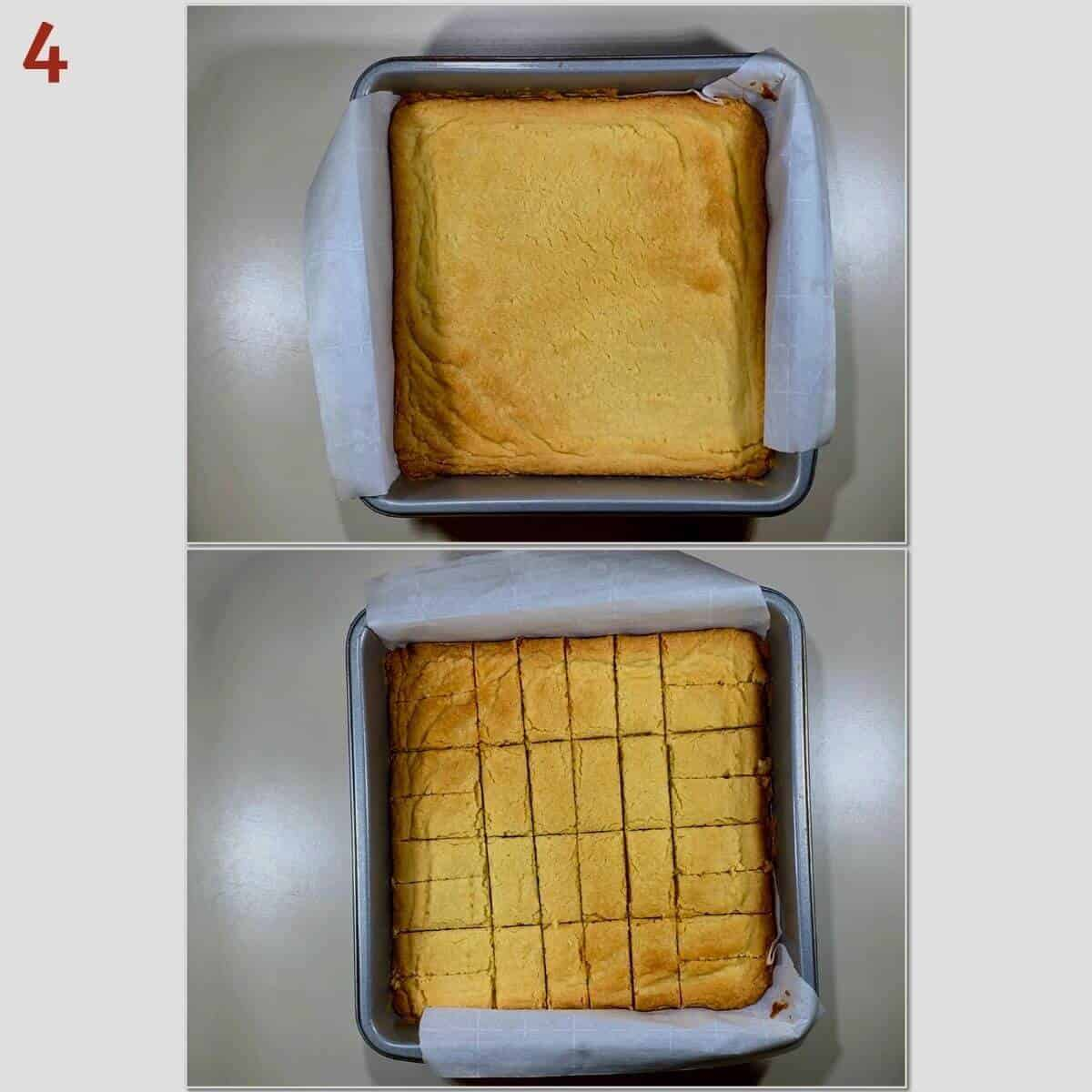 Collage of shortbread after baking and cut into bars in pan.
