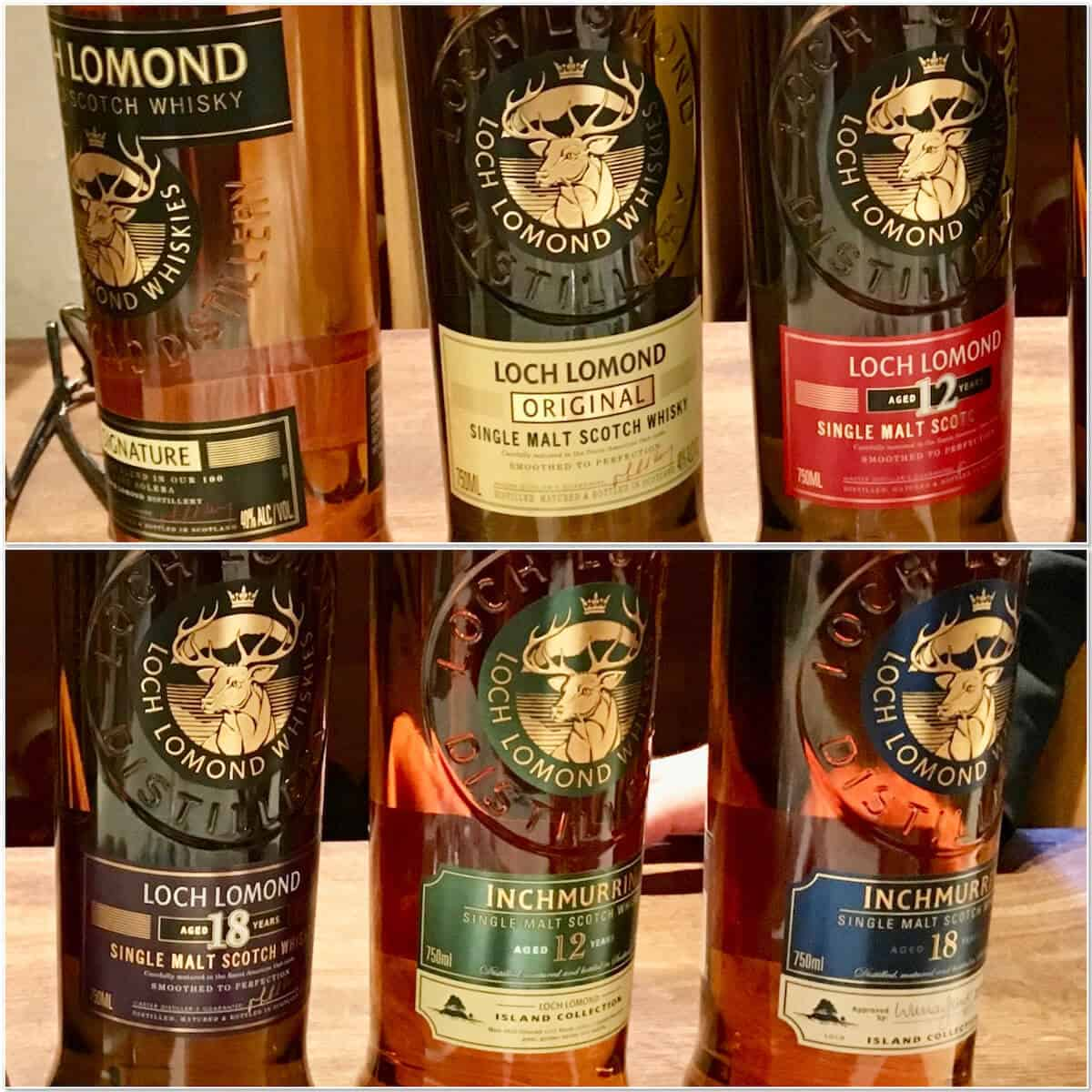 Collage of Loch Lomond whisky lineup in bottles.