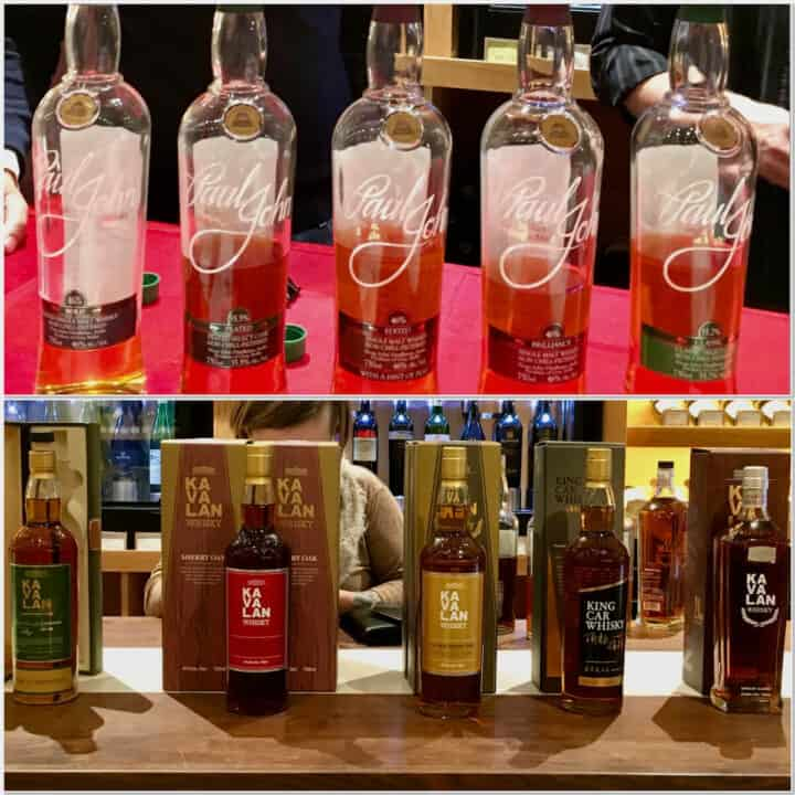 Collage of Paul John & Kavalan lineup in bottles on a counter.