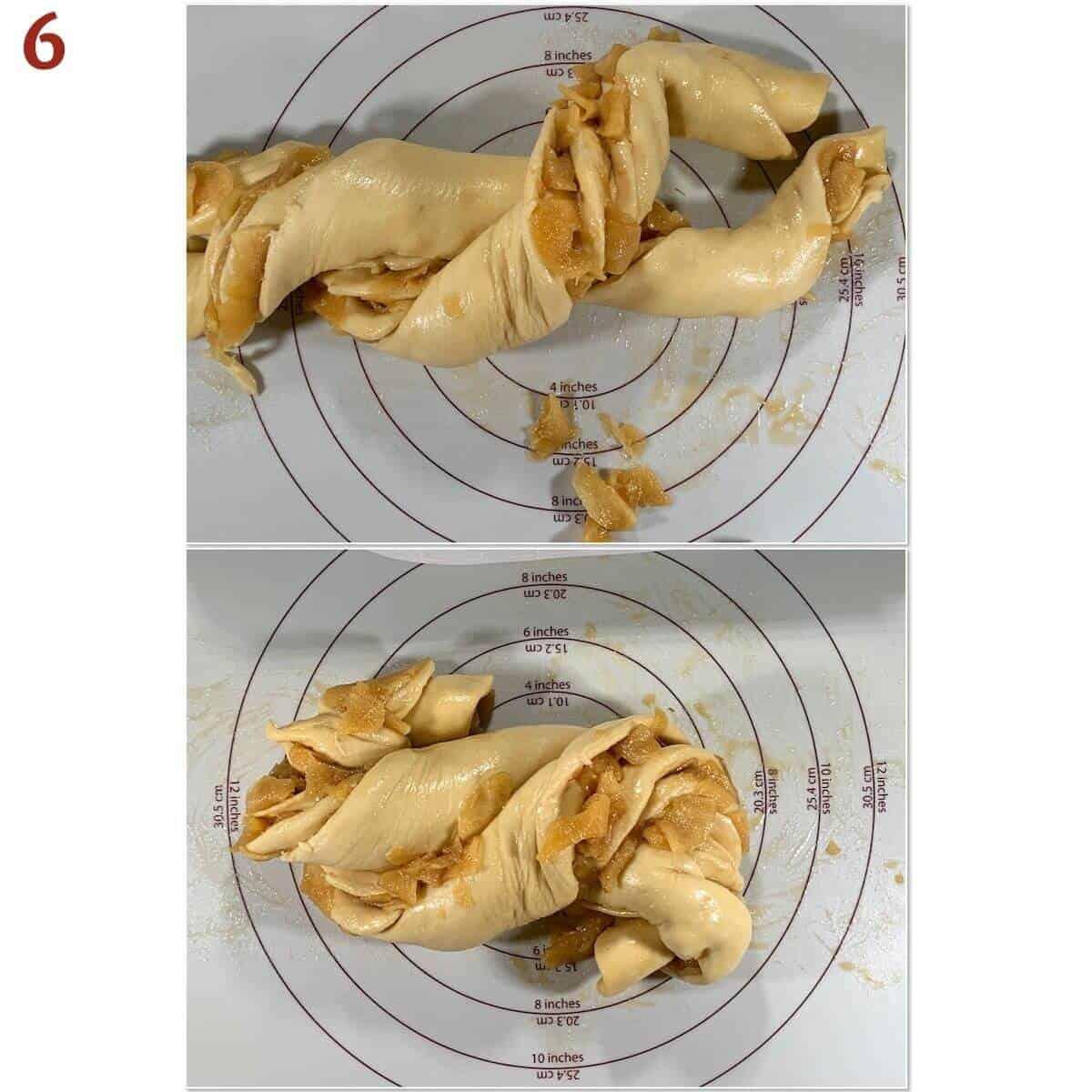 Collage of twisting split & twisted babka rolls.