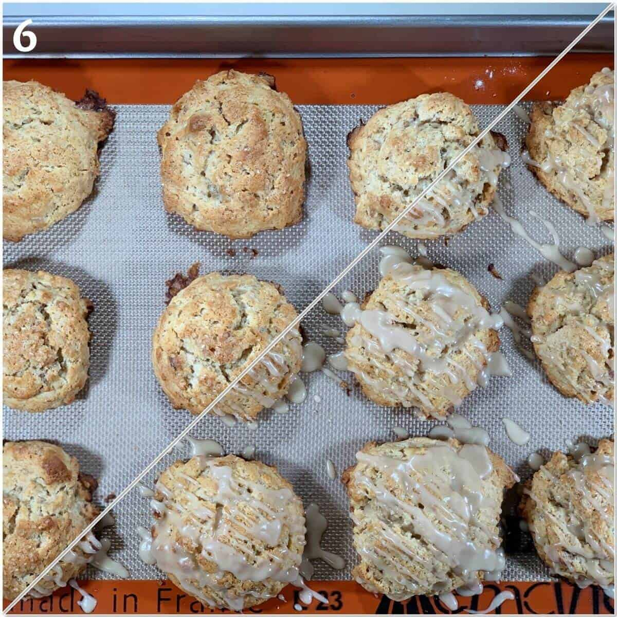 Collage of Maple Walnut scones after baking and glazing.
