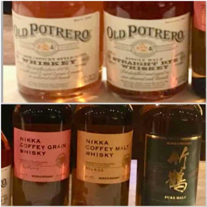 Collage of Nikka Japanese whisky & Old Potrero Rye whiskey bottle labels.