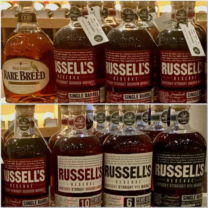 Collage of Wild Turkey & Russell's Reserve lineup in bottles on a counter.