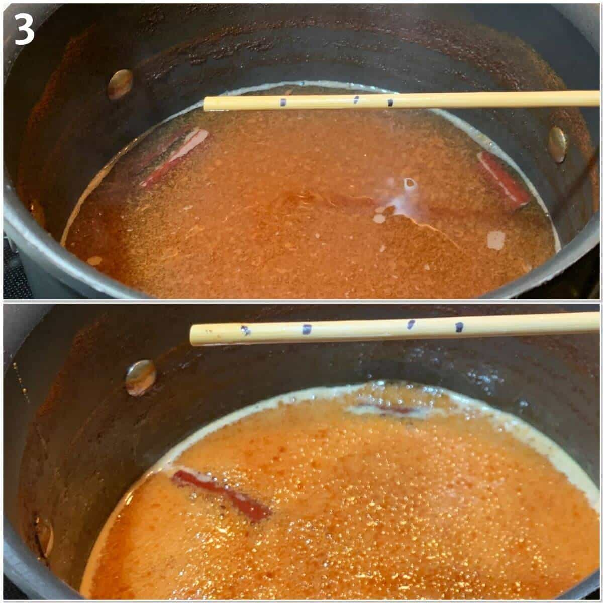 Collage of reducing apple cider in a pot after 2 and 3 hours.